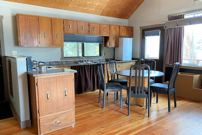 Cabin 15 kitchen at Postill Lake Lodge