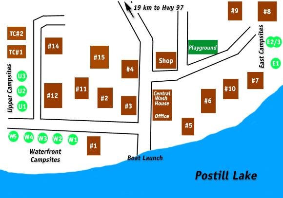 Postill Lake Lodge Resort Map